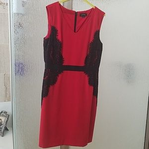 Tahari  red and black lace trim dress